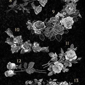 Гравировка цветов на памятники. Розы № 02