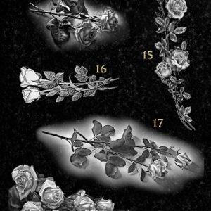 Гравировка цветов на памятнике. Розы № 03